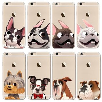 Cute French Bulldog Soft TPU Gel Original Transparent Case For iPhone 6 6s 7 7Plus 6sPlus Crystal Clear Silicon Cover Phone Case