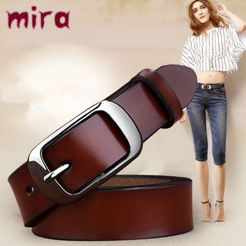2016 new Women's strap genuine leather casual all-match Women brief leather belt women's strap belt  students pure color belts