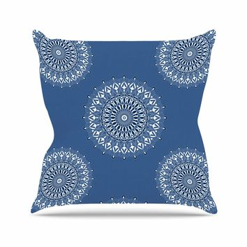 "Julia Grifol ""Blue Harmony"" Blue White Digital Throw Pillow"