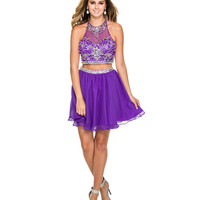 Preorder  Purple Embellished Short Two Piece Dress 2015 Homecoming Dresses