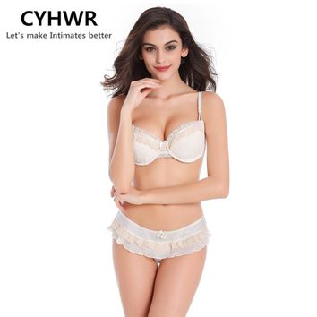 CYHWR  women underwear Chiffon Intimates bra set Lace Embroidery Sexy Lingerie Bra set With Thongs