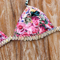 Pink Shell Bralette - Pink Floral Triangle Bra with Cowrie Shell Embellishment