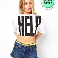 ASOS Crop T-Shirt with Help Print at asos.com