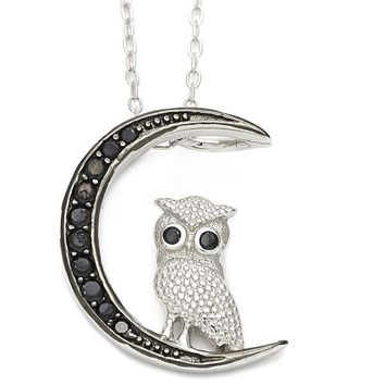 Sterling Silver 10.174.0147.18 Fancy Necklace, Owl and Moon Design, with Black Cubic Zirconia, Polished Finish, Silver Tone