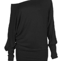 Black Off Shoulder Ruched Long Sleeve Longline T-shirt