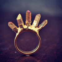 CRYSTAL KILLER /// Stackable Gemstone Gold Electroformed Ring