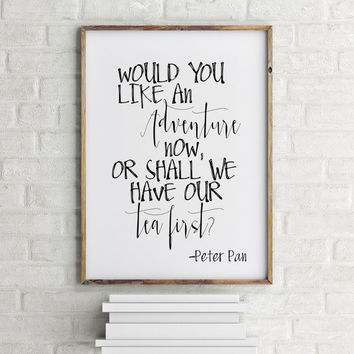 nursery quote adventure typography poster nursery poster nursery decor peter pan poster peter pan