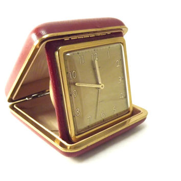 Retro Travel Wind up Clock, Burgundy and Gold Semca Folding Alarm Clock