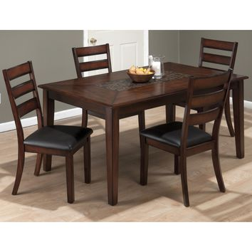 Baroque Brown 5 Piece Rectangle Table Mosaic Inlay & Slat Back Dining Chair Set