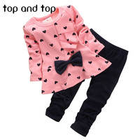 2016 New Baby Girl Set Heart-shaped Print Bow Cute 2PCS Kid Set T shirt + Pants Cute Princess Kids Clothing Set Newborn Clothing