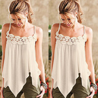 Fashion lace stitching T-shirt
