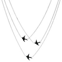 1/8 CT. T.W. Enhanced Black Diamond Triple Strand Birds Necklace in Sterling Silver - Save on Select Styles - Zales