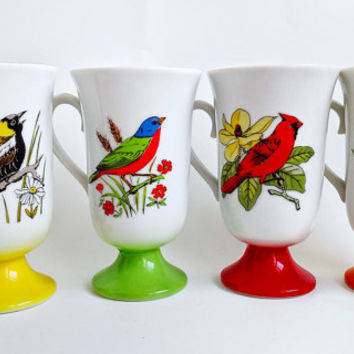 Vintage Mid Century Vibrant Bird Pedestal Coffee Cups by Fred Roberts, Set of 4, Yellow, Green, Red and Orange 1960s Retro Coffee Mugs