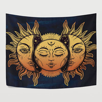 Moon and Sun Faces Celestial Mystic Tapestry Wall Hanging Psychedelic Golden Dark Blue Wall Decor Art for Bedroom Livingroom Dorm