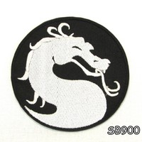 DRAGON IN ROUND SHAPE Iron on Small Patch for Biker Vest SB900