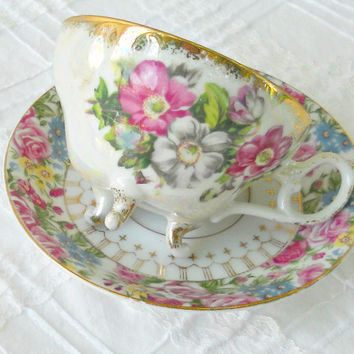 Vintage French Country Mismatched Ornate Footed Tea Cup Set, Cottage Roses, Shabby Chic, Cottage Style, Tea Cup Duo