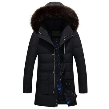 2016 New Casual Fur Collar Hooded Mens Down Parka Long Thick Warm Mens Jackets And Coats Winter
