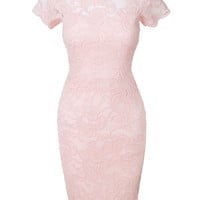 LE3NO Womens Short Sleeve Floral Lace Scalloped Hem Bodycon Midi Dress (CLEARANCE)