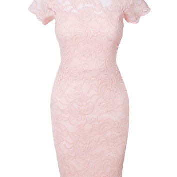 LE3NO Womens Short Sleeve Floral Lace Scalloped Hem Bodycon Midi Dress