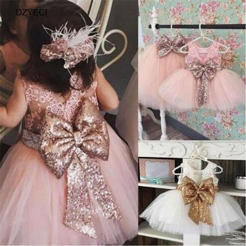 Elegant Bow Sequins Dress For Girl Carnaval Costumes Summer Infant Toddler Lace TUTU Party Princess Frock Kid Child Deguisement