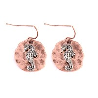 Two Tone Seahorse Hammered Plate Earrings