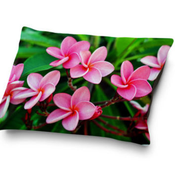 Rose Pink Plumerias - Pet Bed, Beach Floral Surf Style Pet Bedding, Coral Fleece Frangipani Flowers Pet Pillow Bed. In Small Medium Large