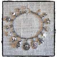 Silver Tone Sugar Skulls Charm Bracelet with Stainless Steel Chain