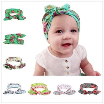 Vintage Newborn Baby Girls Printing Knot Tie Elastic Headband Cotton Children Girls Baby Head Wrap Hair Accessories 1pc HB022