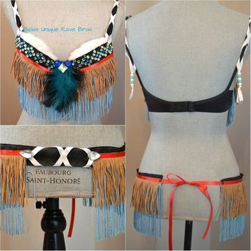 Tan Turquoise Tribal Fringe Feather Native indian Bra and Skirt