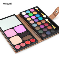 Shimmer Eyeshadow Palette Maquiagem 1pcs/lot 24color Eyeshadow +2 color Blush+ Foundation+Lipstick Make Up Kit Palatte 8827C