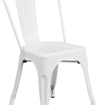 White Metal Indoor-Outdoor Stackable Chair