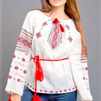 Women's linen (flax) Vyshyvanka with hand embroidery.