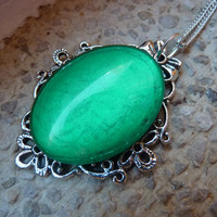 Poison Ivy Inspired Necklace - Black or Silver Chain Short