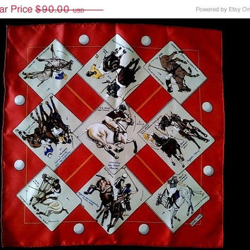 25% SALE Authentic Vintage Hermes Handkerchief Small Scarf Polo Horses Silk