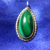 VINTAGE NAVAJO Pendant Malachite Sterling Silver Slide Charm 4 Necklace 925 Native American Indian
