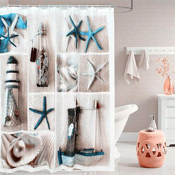 Fabric polyester blue sea life seashell waterproof shower curtain thicken shower curtains bathroom curtain size 180 cm * 180 cm
