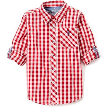 Engine Red Plaid Roll-Sleeve Button-Up - Toddler & Boys