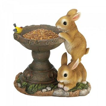 Set of 2 Playful Bunnies Bird Feeders