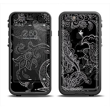 The Black with Thin White Paisley Pattern Apple iPhone 6 LifeProof Fre Case Skin Set