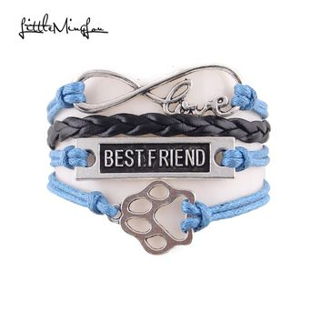 Little MingLou infinity love pet paw charm dog bracelet best friend leather wrap men bracelets & bangles for women jewelry