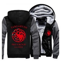 Hot Game of Thrones House Targaryen Thicken Hoodie Zipper Coat Jacket Sweatshirts MEN WOMEN Top Clothing