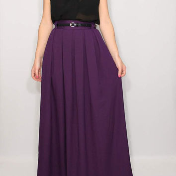 Long skirt High waist skirt Purple maxi skirt with pockets