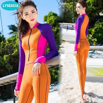 LYSEACIA Full Covered Wetsuit for Women Swim Long Sleeve Diving Suits Nylon Patchwork Swim Wear Summer Anti-Sun Slim Swimsuit