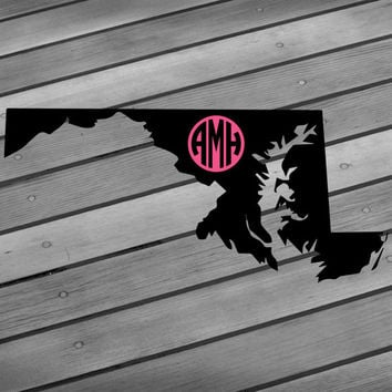 State decal 50 states State sticker State monogram decal State monogram sticker State wall art State map State car decal Initials decal