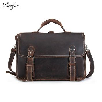 Men's Vintage crazy horse leather briefcase PC high quality genuine leather laptop rucksack Real leather business bag