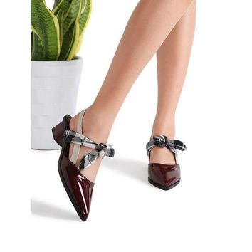 ONETOW Burgundy Plaid Tie Patent Leather Chunky Heel Pumps