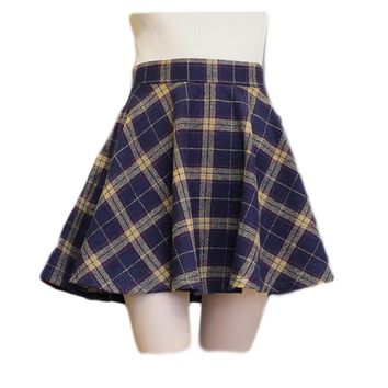 2017 Women's Plaid Skirts Tartan Woolen Plaid Skirts Kilt Winter Wool A-Line Vintage Plaid Skirt Pleated Wool Tartan Mini Skirts
