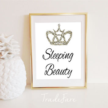 Sleeping Beauty Print, Instant Digital Download, Crown, Nursery, Bedroom, Office Decor, Gold Glitter, 8x10, Gallery Wall Display