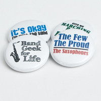 Set of four Saxophone and Marching Band One Inch Buttons or Magnets