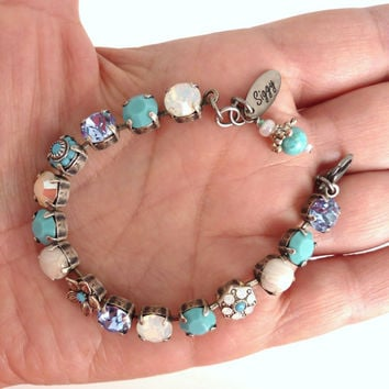 Swarovski crystal tennis bracelet, one of a kind, turquoise and opal, better than sabika, GREAT PRICE
